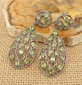 Cut-Peridot-Black-Rhodium-Plated-925-Sterling-Silver-Drop-Earrings-Jewellery