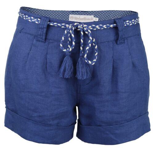Women/'s Halaula 100/% Pure Linen Shorts Urban Beach Surf Holiday Summer Ladies