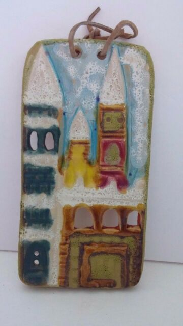 "Earthenware Castle Stoneware Hand Painted Multicolored 9"" x 4-1/2"" Wall Plaque"