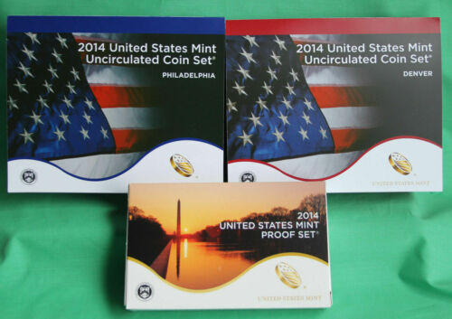 2014 PDS Proof and Uncirculated Annual US Mint Coin Sets 42 Coins TWO Sets