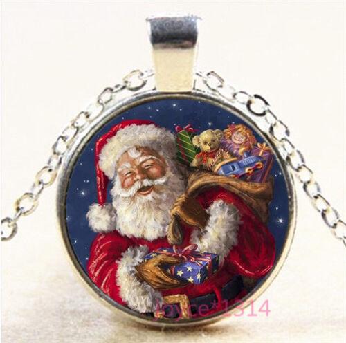 Christmas Cabochon Silver//Bronze//Black//Gold Glass Chain Pendant Necklace #7515