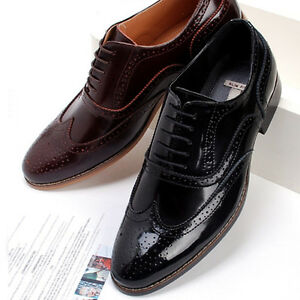 New-Mens-Dress-Leather-Shoes-Formal-Lace-up-Oxfords-Casual-Black-Brown-Deluxe