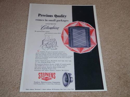 Stephens Columbian Speaker Ad, 1955, Specs, Article