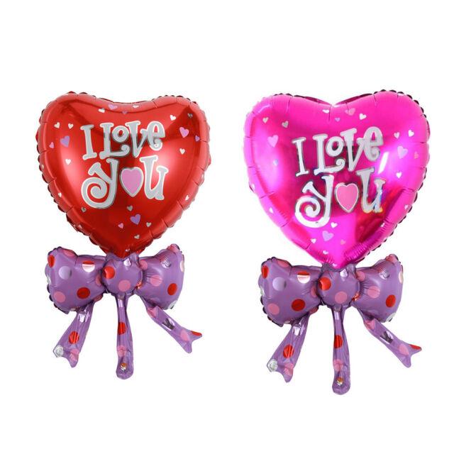 2pcs Heart Shape Bow Aluminum balloon decorated Wedding party Foil balloon HU