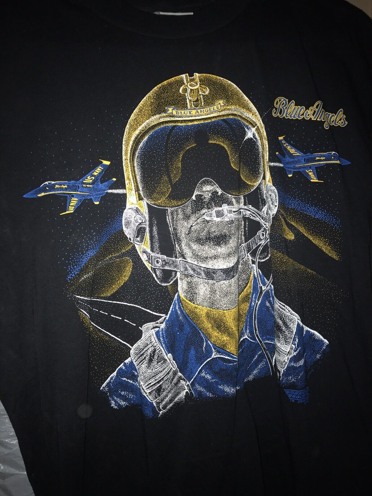 Vintage Blau Angels Fighter Jet T Shirt mens Größe L USA Double Sided Flight 1992