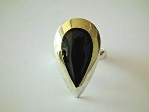 Bague - Onyx - Argent - 925/1000 - TAILLE 54 / 7 - NEUF *