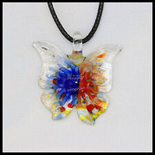 Fashion Women's butterfly lampwork Murano art glass beaded pendant necklace #A35
