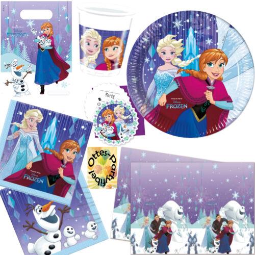Decke Tüte Einlad. Snowflake Frozen Partyset 77tlg f 12 Kids Teller Becher Serv