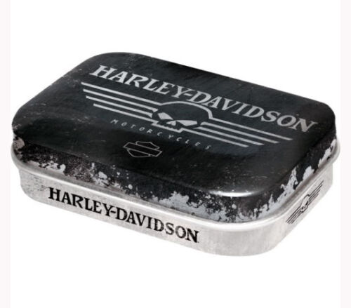 Retro Tin Metal Pill Box HARLEY DAVIDSON SKULL w Mints Motorcycles Licensed Prod