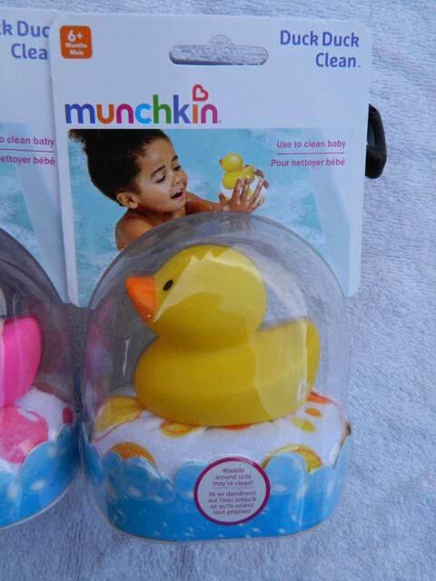 Choice of Blue Munchkin Duck Duck Clean Sponge Bath Toy NIP or Yellow Pink