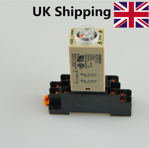 Base High Quality UK Shipping H3Y-2 H3Y Timing Timer Relay 8pin DC12V 5A 10S
