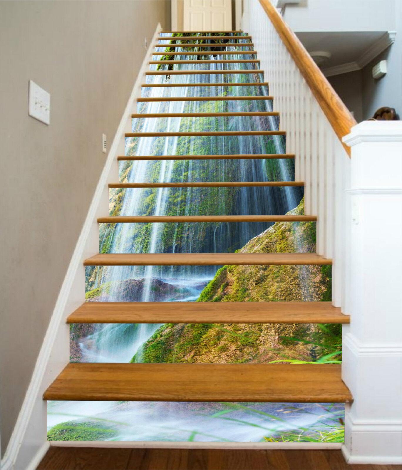 3D Wasserfall 237 Stair Risers Dekoration Fototapete Vinyl Aufkleber Tapete DE