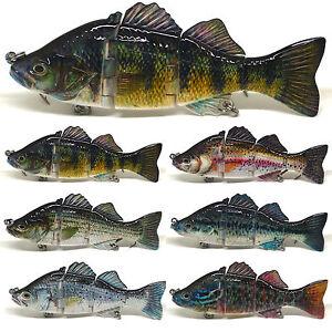 Jointed Bass Pike Muskie Striper Fishing Lure Bait Swimbait Life-like Bluegill