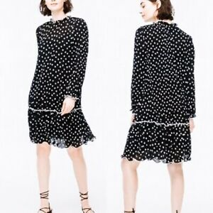 J-Crew-NWT-Women-s-Ruffle-Pleated-Polka-dot-Dress-in-Black-Size-4