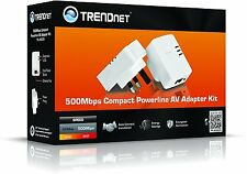 2 TRENDnet Powerline Adapters TV Xbox Home Network Extender Mains Plug 500Mbps