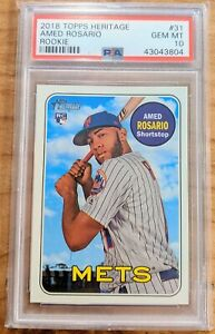 2018 Topps Heritage Amed Rosario RC Action Rookie Mets *PSA 10 GEM MINT