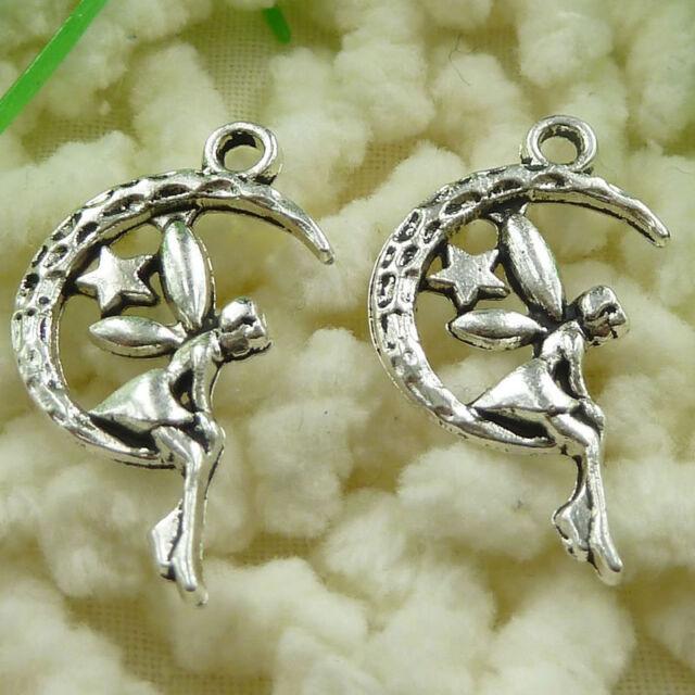 free ship 180 pieces tibetan silver angel charms 21x20mm #3392
