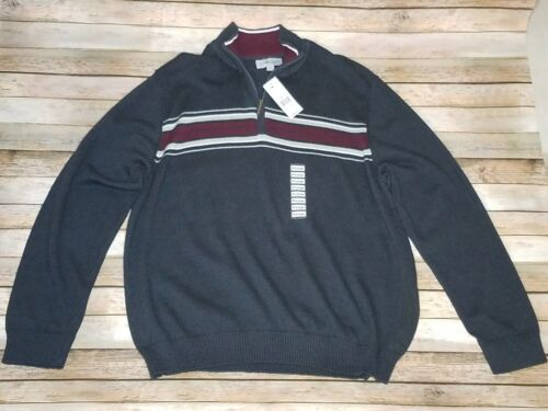 New Sunriver Clothing Co 1/4 Zip Mens Sweater Charcoal Burgundy Size XL for cheap