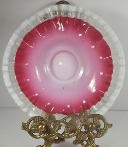Lovely-Artist-Made-Pink-amp-White-Cased-Glass-Bride-039-s-Bowl-W-Crimped-Crystal-Edge