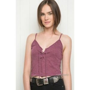 a8347bf1dc5 Image is loading brandy-melville-Burgundy-Wash-cropped-ribbed-Lace-Up-
