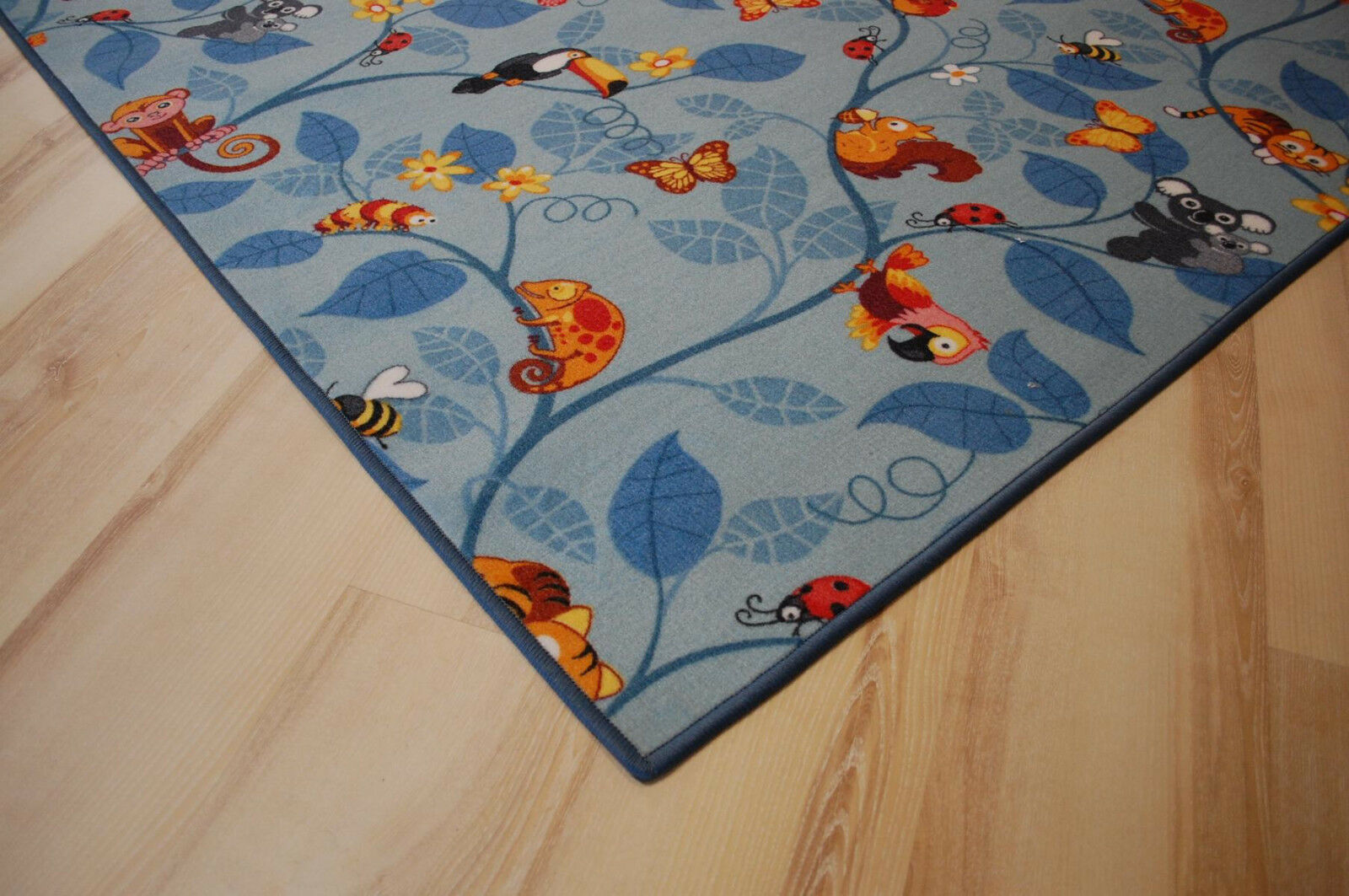 Enfants Tapis Jeu Tapis JUNGLE VELOUR BLEU 200x680 cm jungle animaux