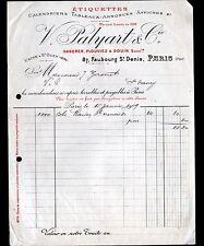 """PARIS (X°) ETIQUETTES / IMPRIMERIE """"HABERER DOUIN JOUNEAU / PALYART Succ"""" 1909"""