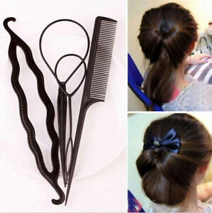 4-Piece-Hair-Tool-Accessories-Topsy-Tail-Bun-Maker-Comb-pony-Tail-Styling