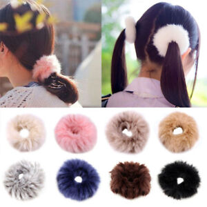 Faux-Rabbit-Fur-Leopard-Fluffy-Elastic-Scrunchie-Hair-Rope-Ring-Ponytail-Holder