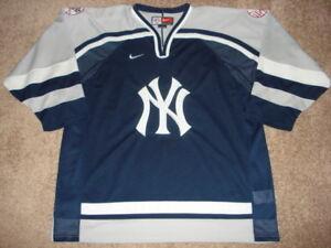 sale retailer fd970 9fe3c Details about Vintage Nike NEW YORK Yankees Blue Gray HOCKEY Jersey SUPER  RARE SIZE XXL MINT