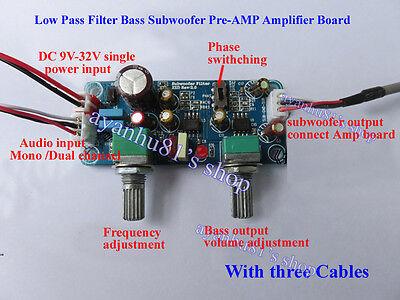 Single Power DC 9-32V 24V Low Pass Filter Bass Subwoofer Pre-AMP Amplifier Board