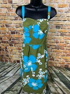 Nougat-London-Women-039-s-Dress-Sz-2-Olive-Green-Blue-Floral-Comfort-Casual-Buttons