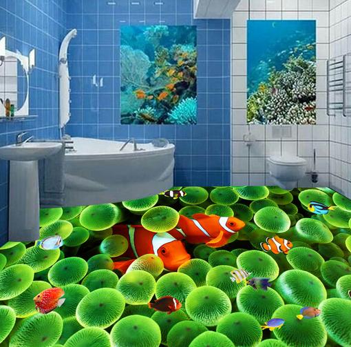 3D Grün Coral Fish 4 Floor WallPaper Murals Wall Print 5D AJ WALLPAPER UK Lemon