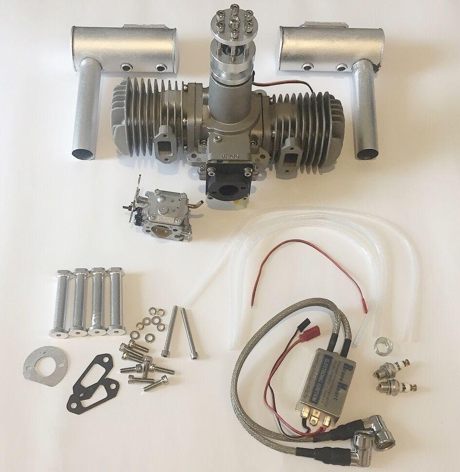 BNIB BH100cc Gasoline Engine w Electronic Ignition&mufflers for RC Airplane