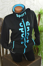Jacke Freizeit Sweat Sport Fleece Bündchen Stehkragen gefüttert schwarz blau 36