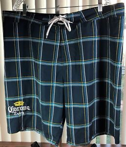 CORONA-Extra-Board-Shorts-Swim-Trunks-Mens-XL-42-034-Waist-Plaid-UNLINED-amp-Unworn