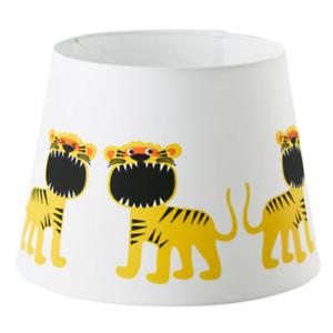 IKEA TROLLAKULLA Leuchtenschirm Lampenschirm für Kinder weiß 33cm Löwe Tiger