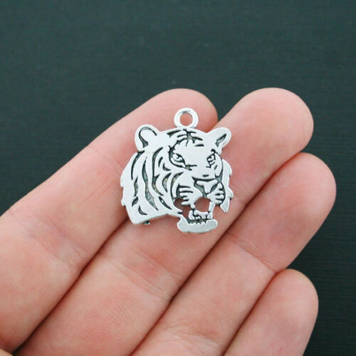 2 Tiger Charms Antique Silver Tone 2 Sided Tiger Head SC4304