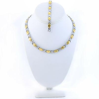 Hugs /& Kisses DOUBLE HEART Necklace Bracelet Set Stampato Two Tone 18//20/'/'