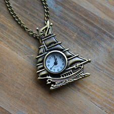 Ship Pocket Watch Pocketwatch Necklace, WORKING, Antique Bronze Boat, Naut