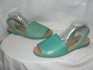 MENORCAN-Shoes-Women-039-s-Size-8-5-9-40-Blue-Leather-Slip-On-Peep-Toe-Sandals-Flats