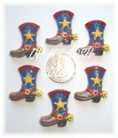 6pc Giddy Up Cowboy Cowgirl Boot Western Flatback Resins 4 Hairbow Bow Center