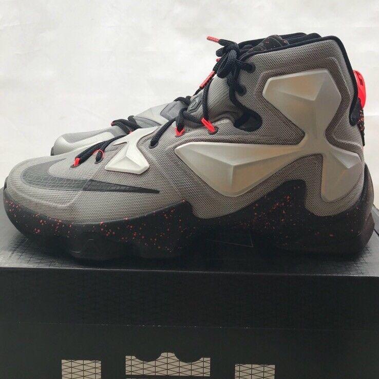 Nike lebron 13 città di gomma grigio / nero metallico stile 807219 003 dimensioni Uomo