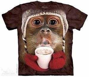 Orangutan-Drinking-Hot-Cocoa-Shirt-Small-5X-funny-winter-Mountain-Brand