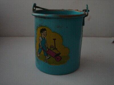 Kleiner Eimer Für Das Puppenspiel, Blech, Blau Lackiert, Mit Bild Diversifiziert In Der Verpackung