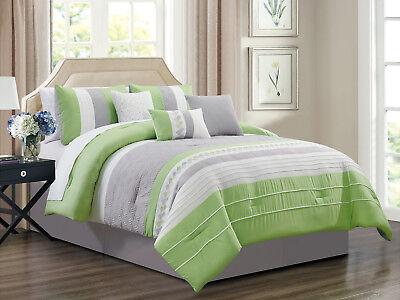 7 Pc Knoton Geometric Cube Lines Comforter Set Lime Green Gray Off
