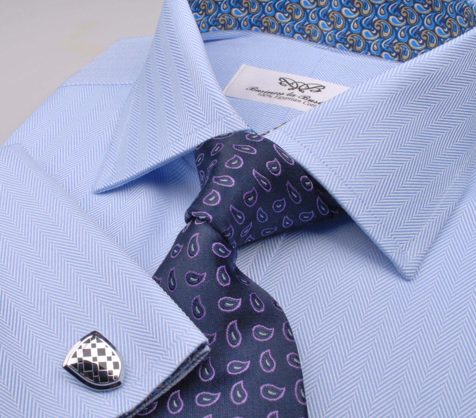 Solid bluee Herringbone Dress Shirt Twill Business Formal Luxury Baroque Paisleys