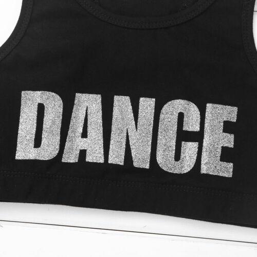 Kids Girls Racer Back Crop Top Shiny DANCE Sports Bra Dance Gym Sport Workout