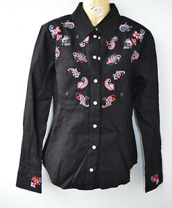 s country linedance Westernbluse m damenhemd gr black embroidery ER8qq6gxw
