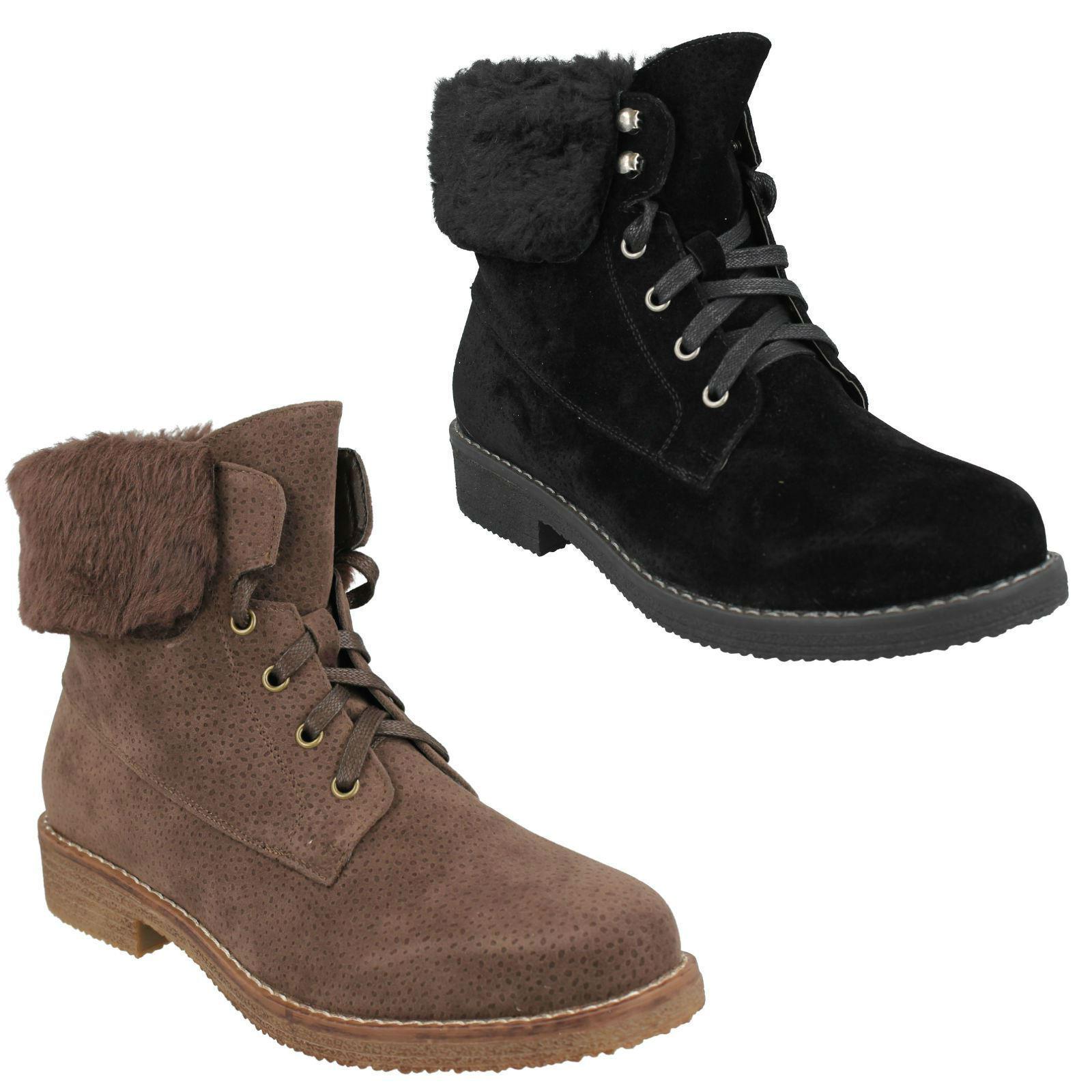LADIES SPOT ON F50711 BLACK/BROWN LOW HEEL ZIP FUR COLLAR ANKLE WINTER BOOTS