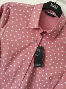 LADIES M&S SIZE 12 16 18 OR 22 PINK MIX COTTON RICH STRETCH BLOUSE TOP FREE POST